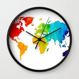 Original Watercolor - Map of The World - Travel Art - Chakra Rainbow Colors Wall Clock