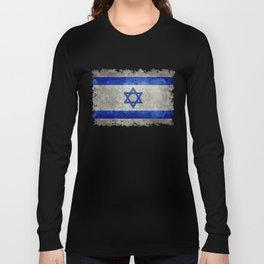 Israeli National Flag in grungy retro style שְׂרָאֵל Long Sleeve T-shirt