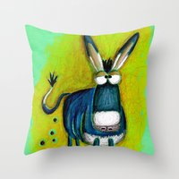 donkey Throw Pillows featuring Donkey by t i t i l l a