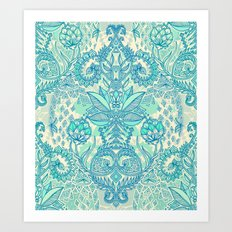 Botanical Geometry - nature pattern in blue, mint green & cream Art Print