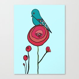 Bird and Poppy Canvas Print