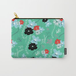 Petite Green Floral Pattern Carry-All Pouch