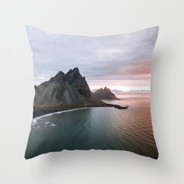 Iceland Mountain Beach Sunrise - Landscape Photography Throw Pillow
