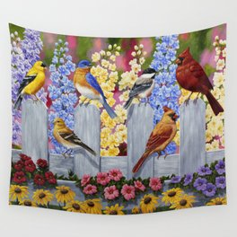 Spring Garden Party Birds and Flowers Wall Tapestry