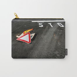 Stop and warning signs on black asphalt road Carry-All Pouch