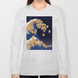 Shiba Inu The Great Wave in Night Long Sleeve T-shirt