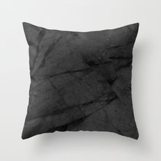 Dark Grey Marble Throw Pillow