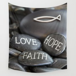 Love Faith Hope Christian Quote Black Pebble Embossing Wall Tapestry
