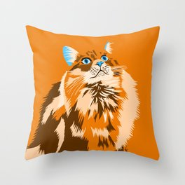 Orange & Blue Minimalist Cat Throw Pillow