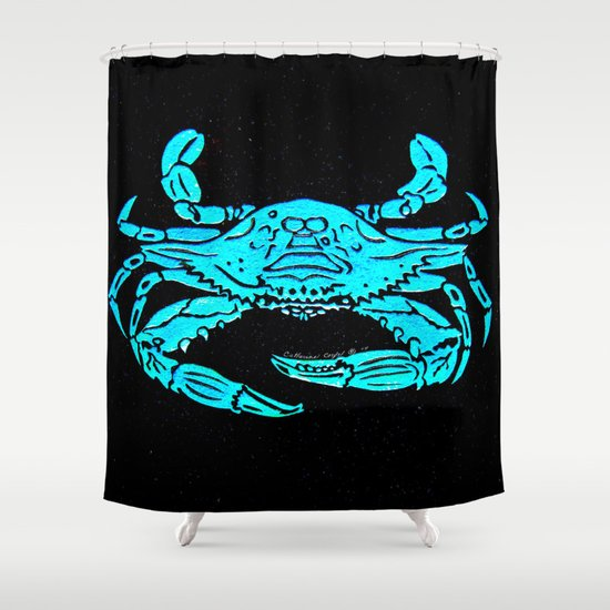 Blue Crab Stencil Design By Catherine Coyle Shower Curtain