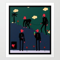 Dudes and tulips Art Print