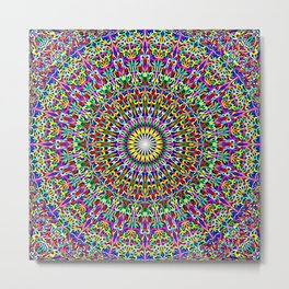 Floral Bohemian Magic Mandala Metal Print
