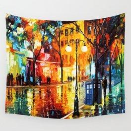 Tardis Time Starry Night Wall Tapestry
