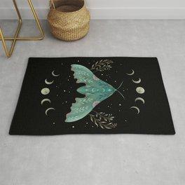 Luna and Moth - Midnight Black Rug