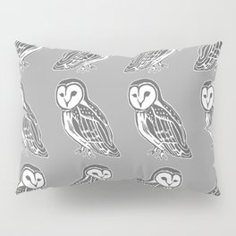 Grey and White Barn Owls Pattern Pillow Sham