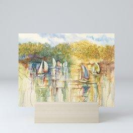 Summer Sailboats Drifting By Mini Art Print