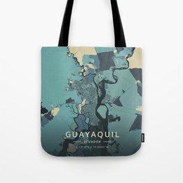 Guayaquil, Ecuador - Cream Blue Tote Bag