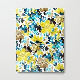 Happy Yellow Flower Collage Metal Print
