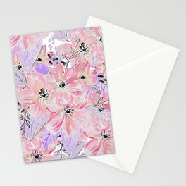 Modern pastel lilac pink watercolor flowers Stationery Cards