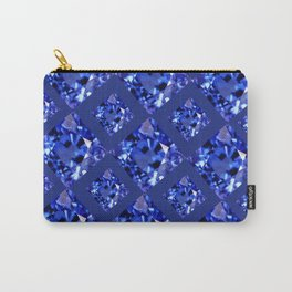 FACETED BLUE ON BLUE SAPPHIRE GEMSTONES Carry-All Pouch