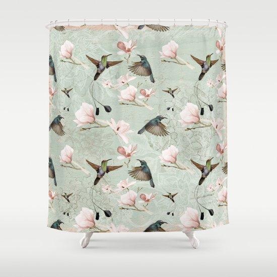 vintage watercolor hummingbird and magnolia flowers on mint