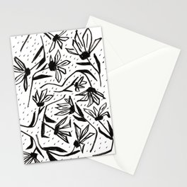 Black and White Echinacea Wildflower Drawing Stationery Cards