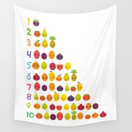 numbers for preschool kindergarten kids kawaii fruit from one to ten Wall Tapestry