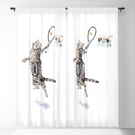 Cat Playing Tennis Blackout Curtain