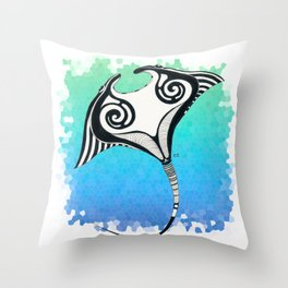 Manta Ray Tribal Tattoo Ink Teal Blue Throw Pillow