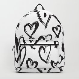 Black White Hand Drawn Hearts Backpack