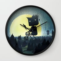 giants Wall Clocks featuring Hill Giants by GlennPorterArt