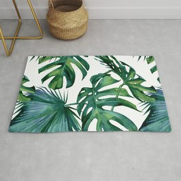 Classic Palm Leaves Tropical Jungle Green Rug