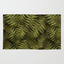 Among the ferns in the forest (military green) Rug