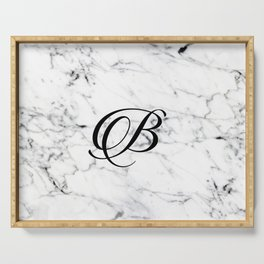 Letter B on Marble texture Initial personalized monogram Serving Tray