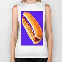 hot dog Biker Tanks featuring Hot Dog by Del Vecchio Art by Aureo Del Vecchio