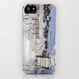 1869-Claude Monet-The Magpie -89 x 130 iPhone Case