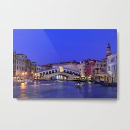 Rialto Bridge and Grand Canal Metal Print