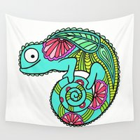lizard Wall Tapestries featuring Lizard by Two Legged Monster Boutique