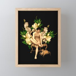 Vintage & Shabby Chic - Antique Night Girl On Chair With Cat And Magnolia Flowers Framed Mini Art Print