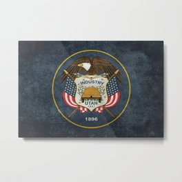 Utah State Flag in vintage retro style Metal Print