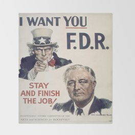 Vintage poster - I Want You FDR Throw Blanket