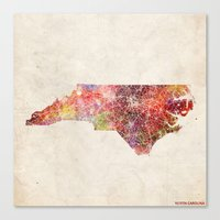 north carolina Canvas Prints featuring North carolina by MapMapMaps.Watercolors
