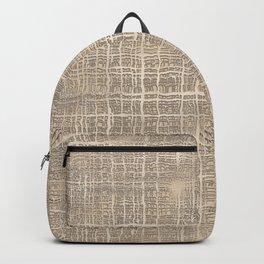 Beige Taupe Brown Jute Burlap Textile Pattern Backpack