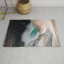 Ocean Wave breaking in the sunset – Water Photography Rug