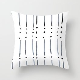 black and white dots and dashes boho modern Throw Pillow