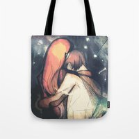 constellations Tote Bags featuring Constellations by The Longfall of 1979