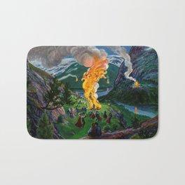Tyrol Alpine River Valley Bonfires of the Summer Solstice landscape painting by Nikolai Astrup Bath Mat