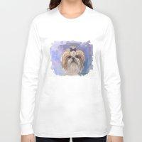 shih tzu Long Sleeve T-shirts featuring Shih tzu  by Michelle Behar