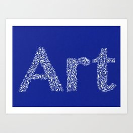 Art: Cut Paper Typography in Blue Art Print