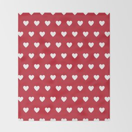 Polka Dot Hearts - red and white Throw Blanket